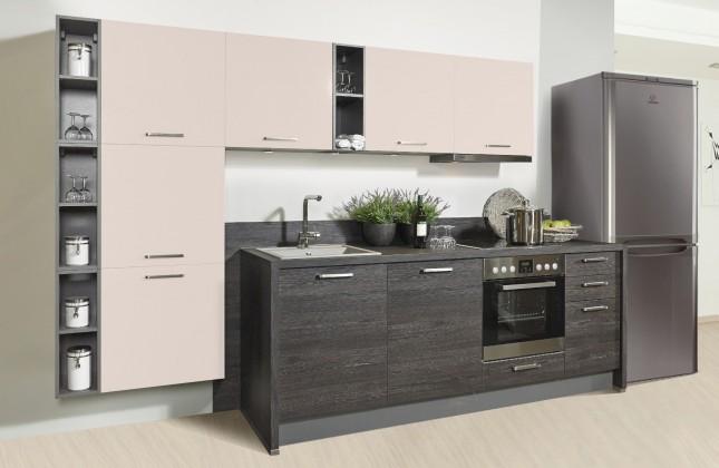 Rovná Misano - Kuchyne 280/320cm (magnolie, dub čierny)