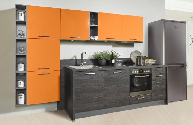 Rovná Misano - Kuchyne 280/320cm (oranžová, dub čierny)