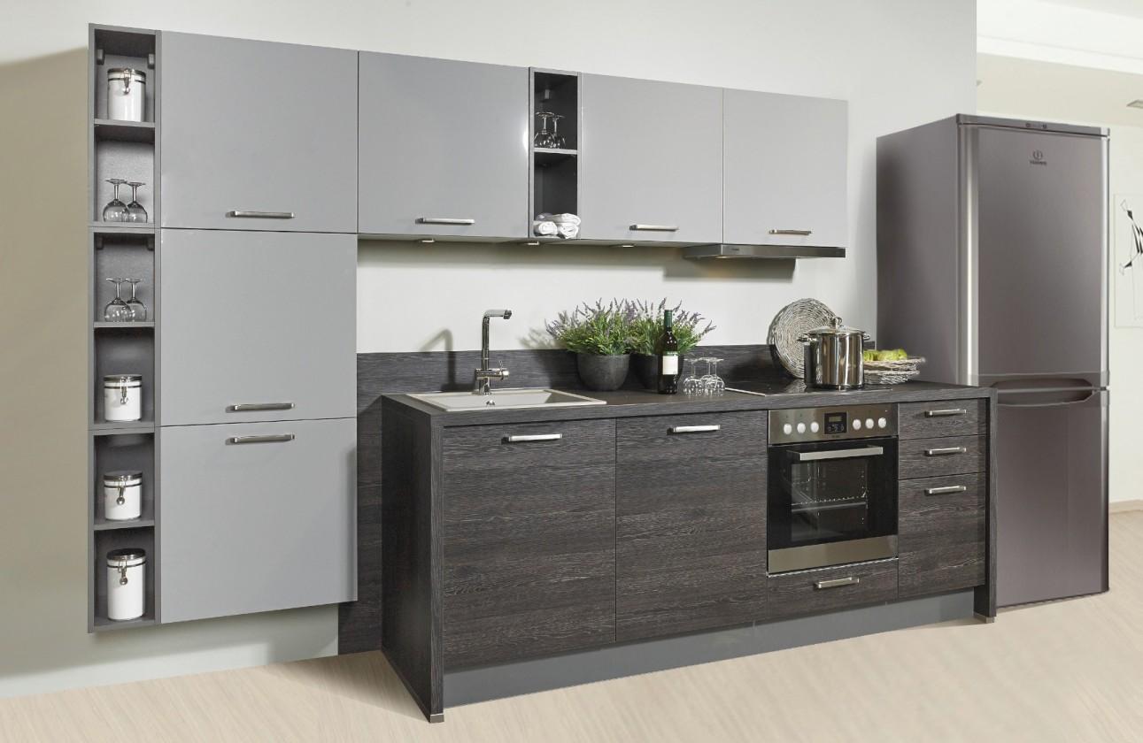 Rovná Misano - Kuchyne 280/320cm (sivá, dub čierny)