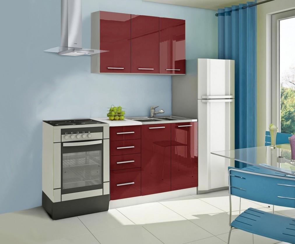 Rovná Mondeo - Kuchynský blok A 120 cm, červená, lesk