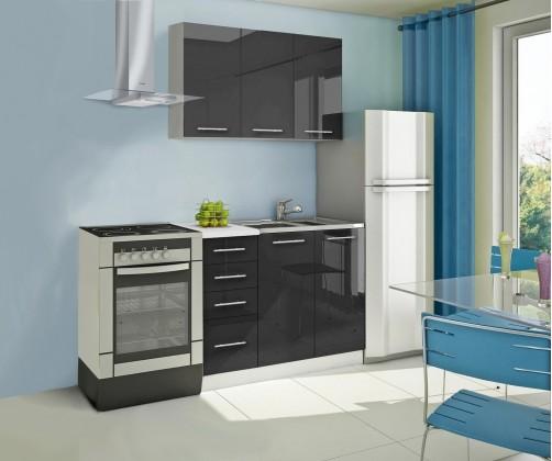 Rovná Mondeo - Kuchynský blok A 120 cm, čierna, lesk