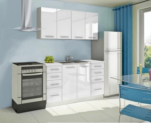 Rovná Mondeo - Kuchynský blok A 160 cm, biela, lesk