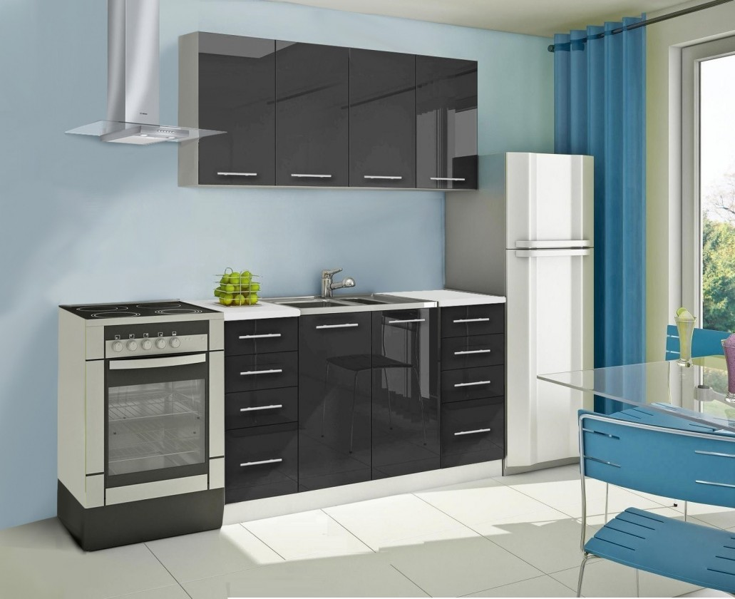 Rovná Mondeo - Kuchynský blok A 160 cm, čierna, lesk