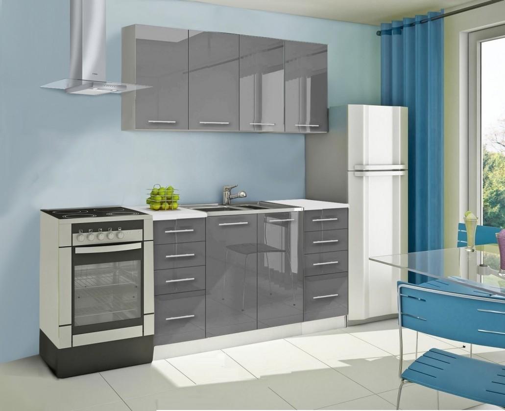 Rovná Mondeo - Kuchynský blok A 160 cm, sivá, lesk