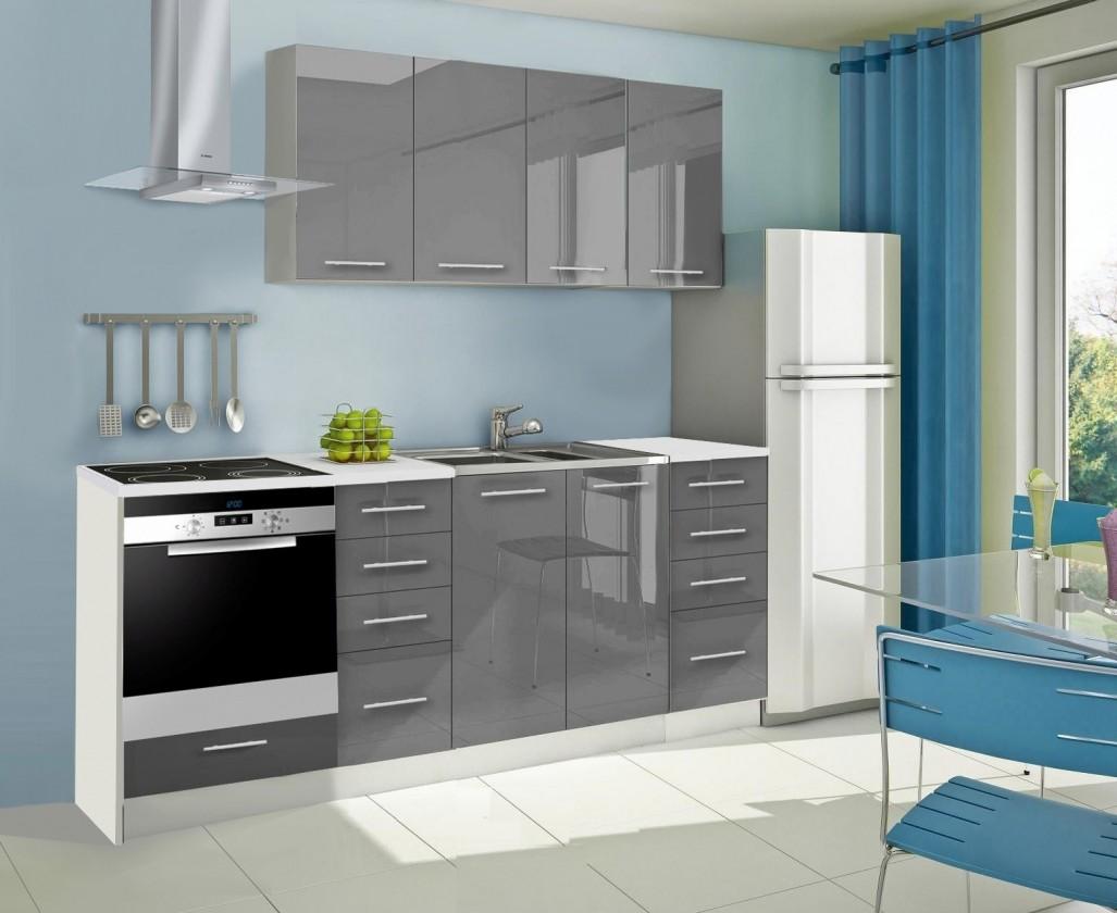 Rovná Mondeo - Kuchynský blok A 220 cm, sivá, lesk