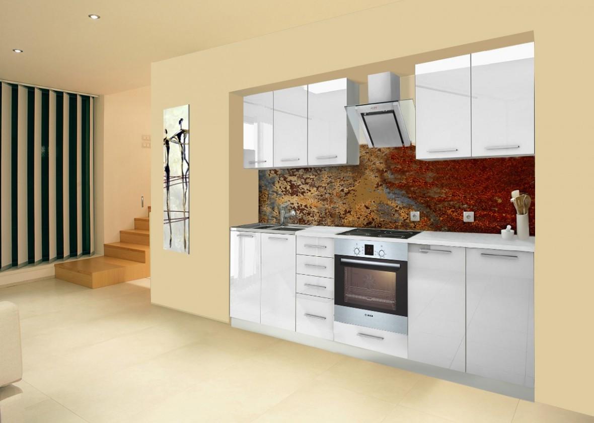 Rovná Mondeo - Kuchynský blok A 260 cm, biela, lesk