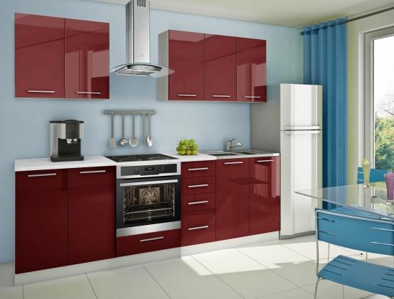 Rovná Mondeo - Kuchynský blok A 260 cm, červená, lesk
