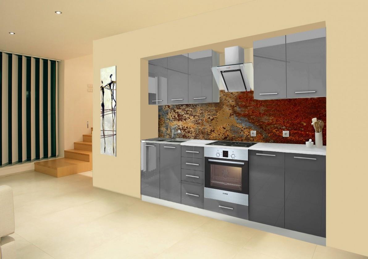 Rovná Mondeo - Kuchynský blok A 260 cm, sivá, lesk