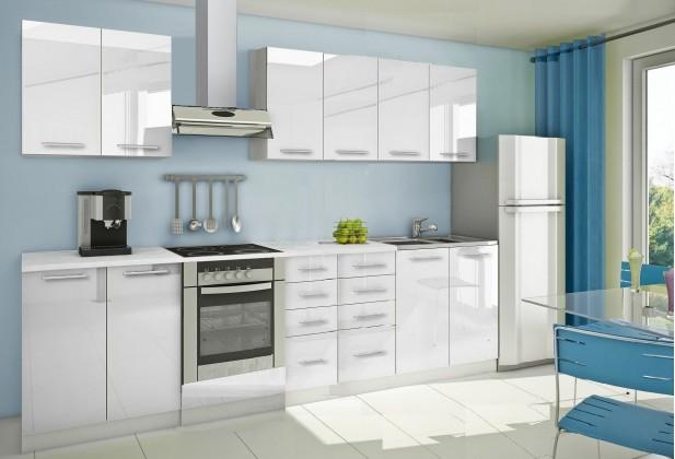 Rovná Mondeo - Kuchynský blok A 300 cm, biela, lesk