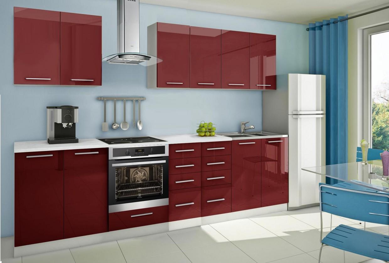 Rovná Mondeo - Kuchynský blok A 300 cm, červená, lesk