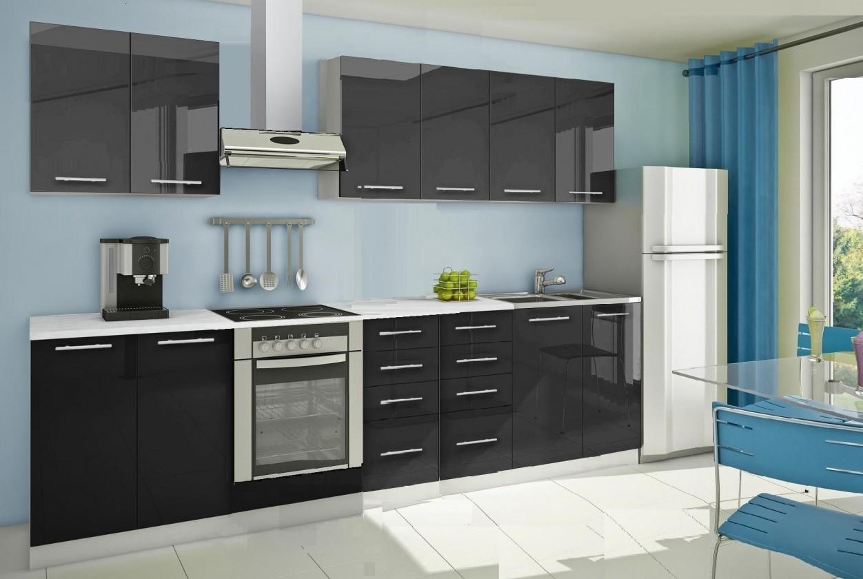 Rovná Mondeo - Kuchynský blok A 300 cm, čierna, lesk