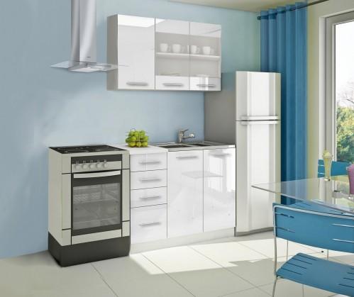 Rovná Mondeo - Kuchynský blok B 120 cm, biela, lesk