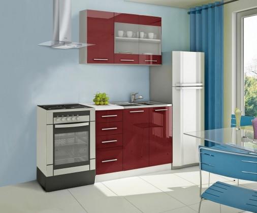 Rovná Mondeo - Kuchynský blok B 120 cm, červená, lesk