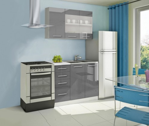 Rovná Mondeo - Kuchynský blok B 120 cm, sivá, lesk