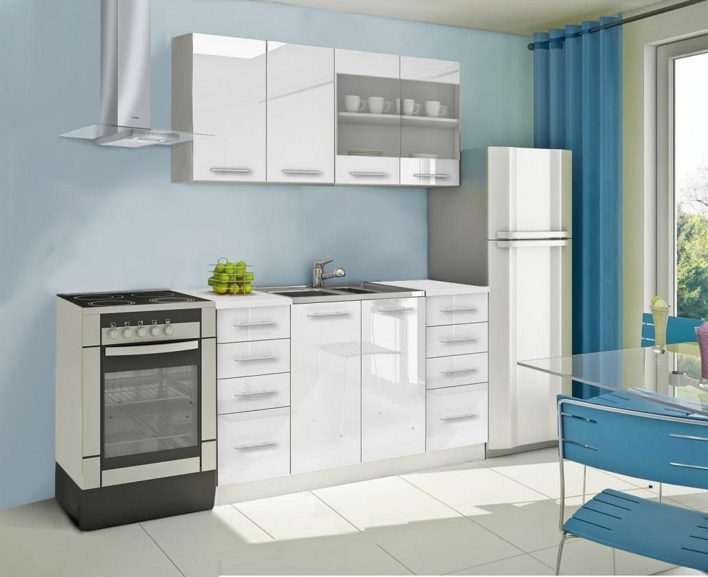 Rovná Mondeo - Kuchynský blok B 160 cm, biela, lesk