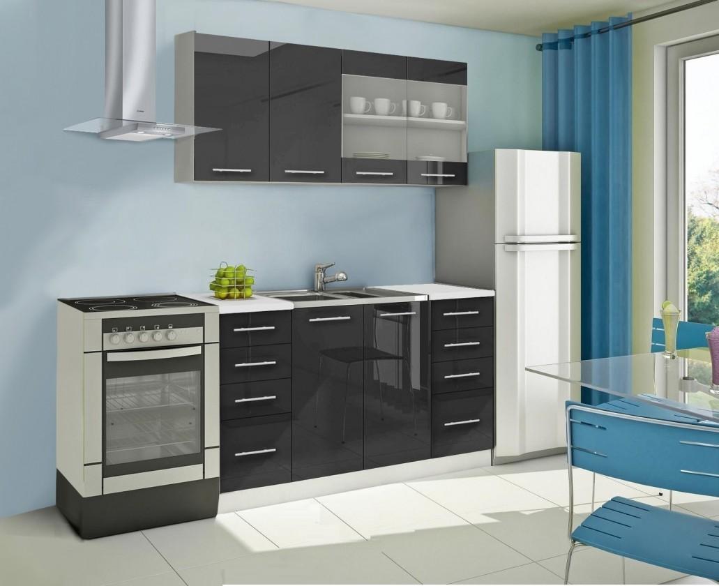 Rovná Mondeo - Kuchynský blok B 160 cm, čierna, lesk