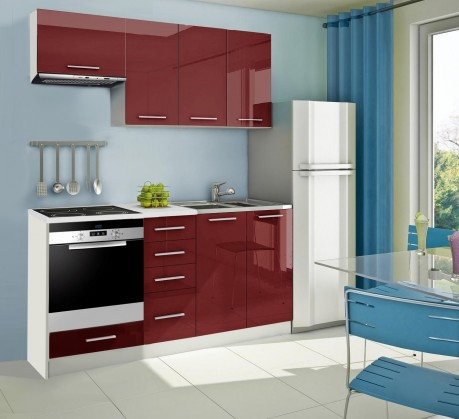 Rovná Mondeo - Kuchynský blok B 180 cm, červená, lesk
