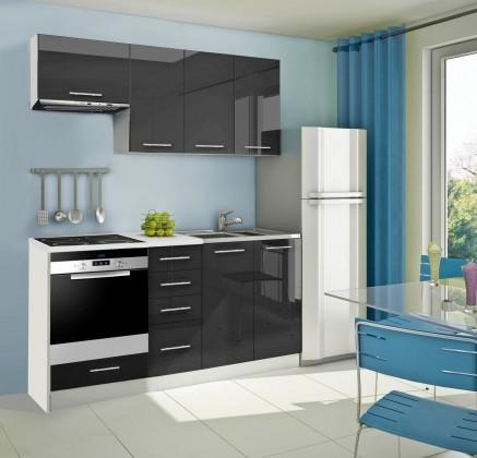 Rovná Mondeo - Kuchynský blok B 180 cm, čierna, lesk