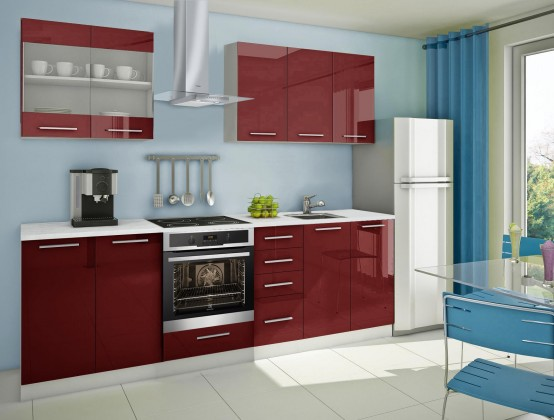 Rovná Mondeo - kuchynský blok B 200/260 cm (pracovná doska - mramor)