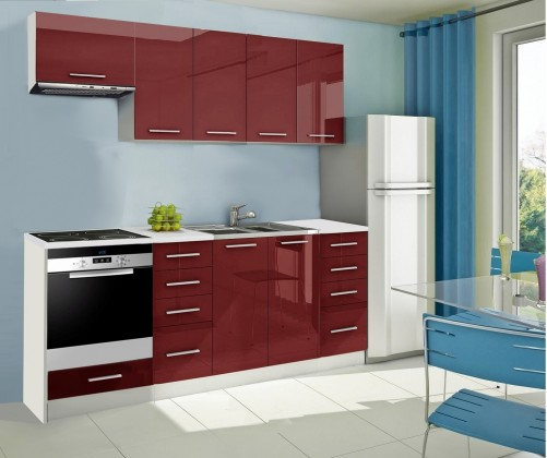 Rovná Mondeo - Kuchynský blok B 220 cm, červená, lesk