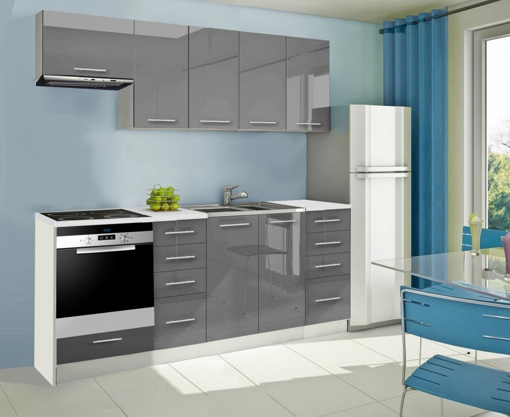 Rovná Mondeo - Kuchynský blok B 220 cm, sivá, lesk