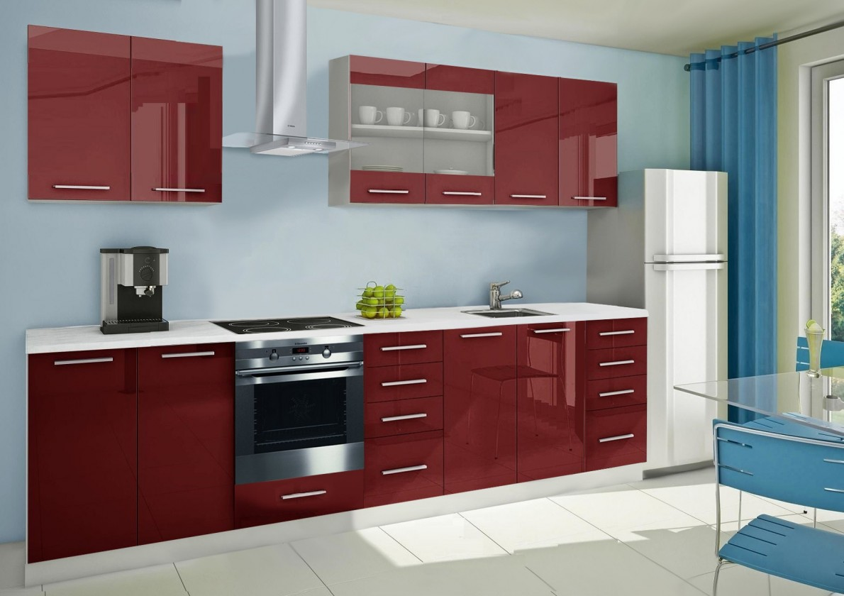 Rovná Mondeo - kuchynský blok B 240/300 cm (pracovná doska - mramor)
