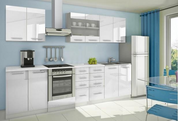 Rovná Mondeo - Kuchynský blok B 300 cm, biela, lesk