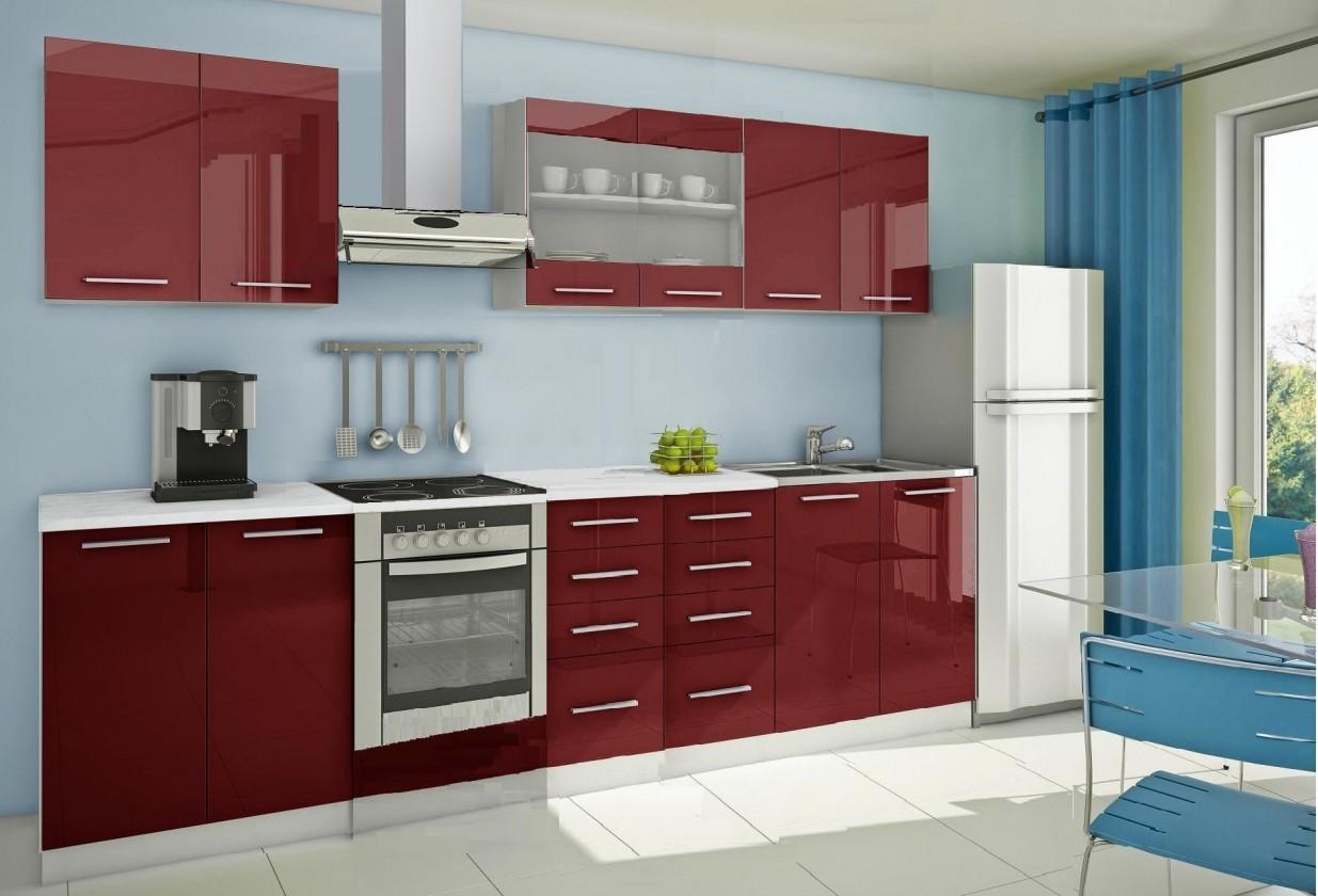 Rovná Mondeo - Kuchynský blok B 300 cm, červená, lesk