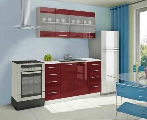 Rovná Mondeo - Kuchynský blok C 160 cm, červená, lesk