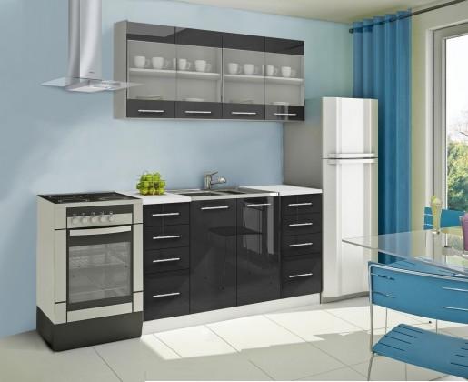 Rovná Mondeo - Kuchynský blok C 160 cm, čierna, lesk
