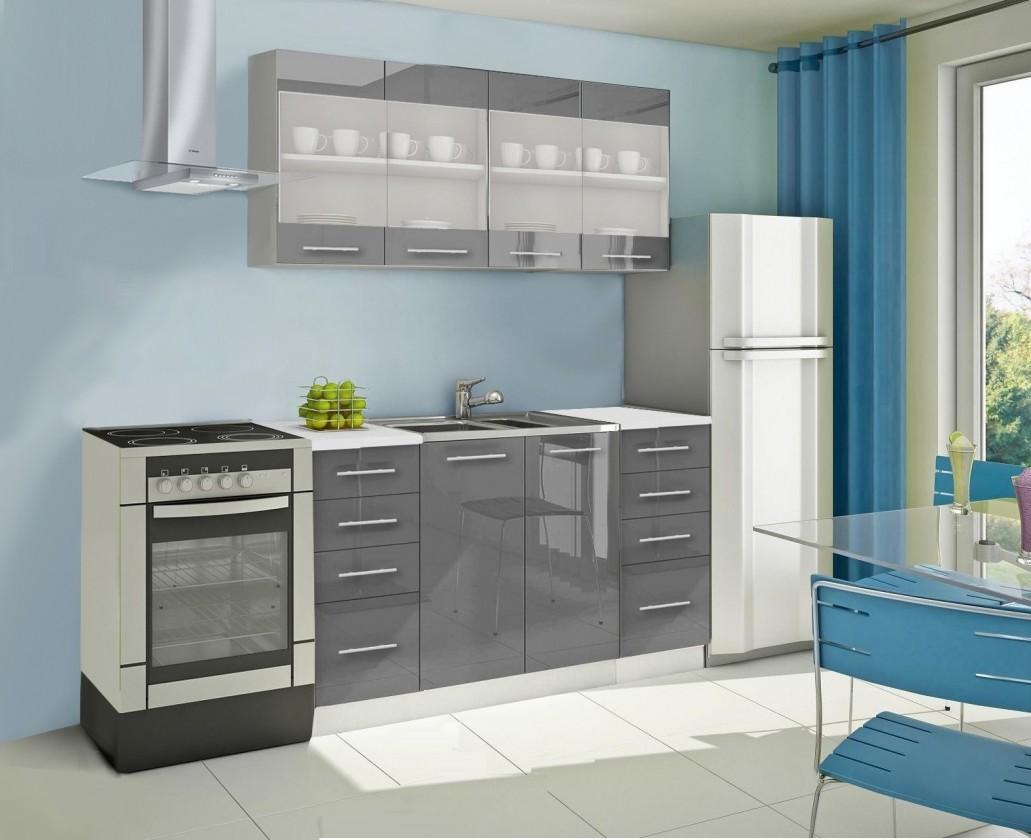 Rovná Mondeo - Kuchynský blok C 160 cm, sivá, lesk