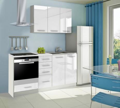 Rovná Mondeo - Kuchynský blok C 180 cm, biela, lesk