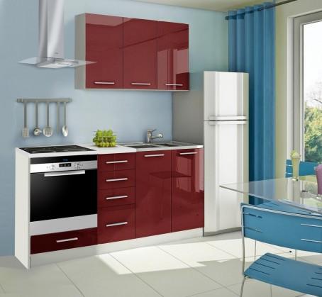 Rovná Mondeo - Kuchynský blok C 180 cm, červená, lesk