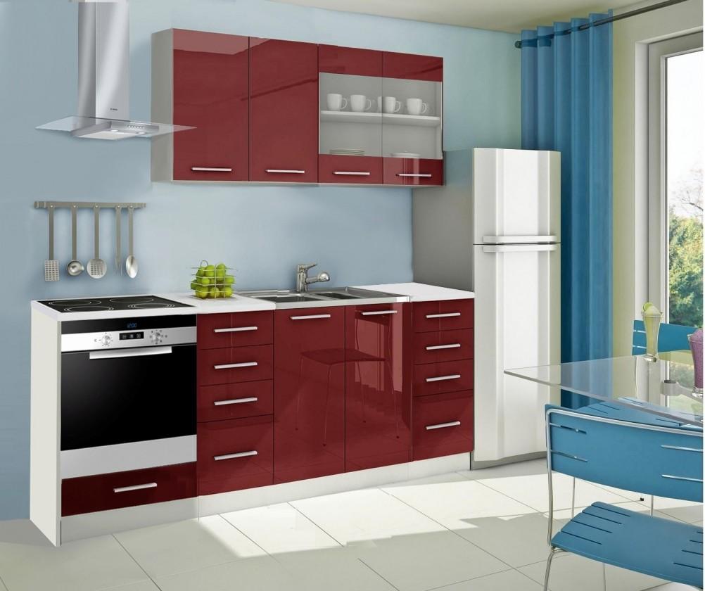 Rovná Mondeo - Kuchynský blok C 220 cm, červená, lesk