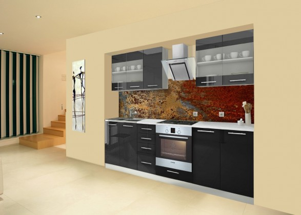 Rovná Mondeo - Kuchynský blok C 260 cm, čierna, lesk