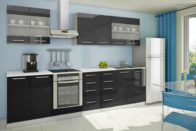 Rovná Mondeo - Kuchynský blok C 300 cm, čierna, lesk