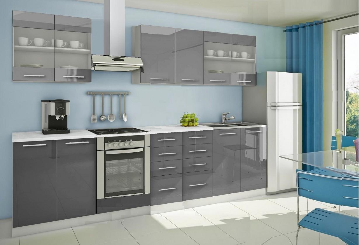 Rovná Mondeo - Kuchynský blok C 300 cm, sivá, lesk