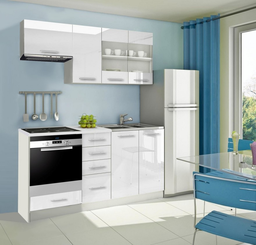 Rovná Mondeo - Kuchynský blok D 180 cm, biela, lesk