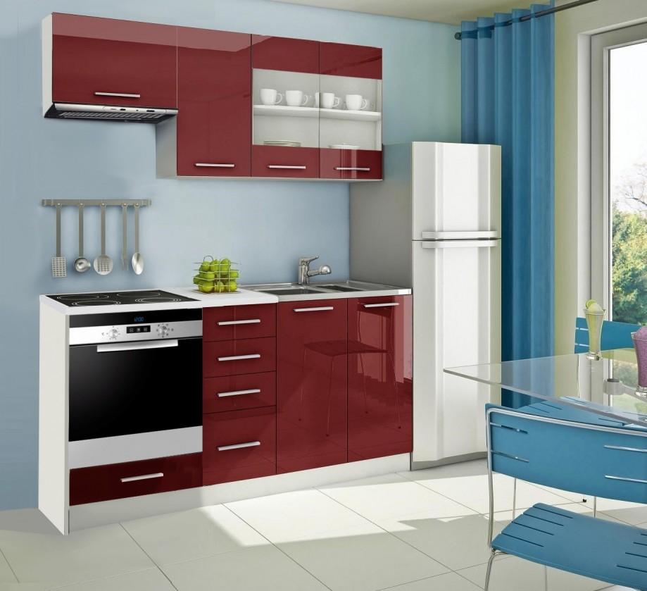 Rovná Mondeo - Kuchynský blok D 180 cm, červená, lesk