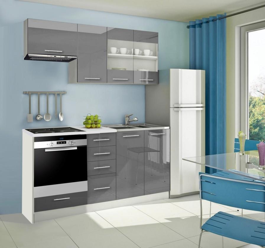 Rovná Mondeo - Kuchynský blok D 180 cm, sivá, lesk