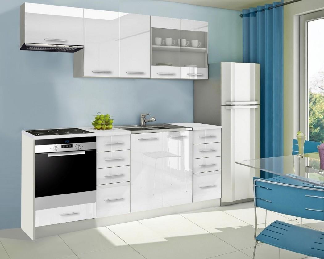 Rovná Mondeo - Kuchynský blok D 220 cm, biela, lesk