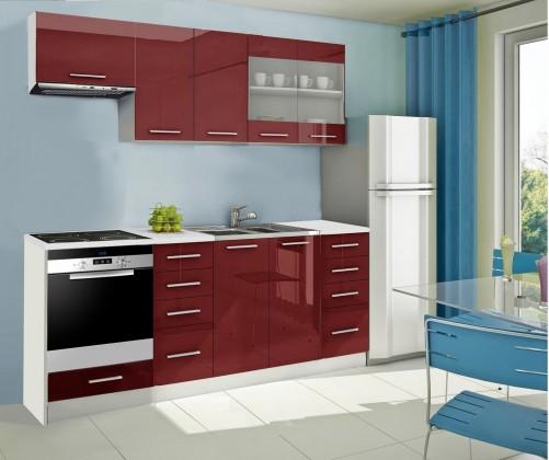 Rovná Mondeo - Kuchynský blok D 220 cm, červená, lesk