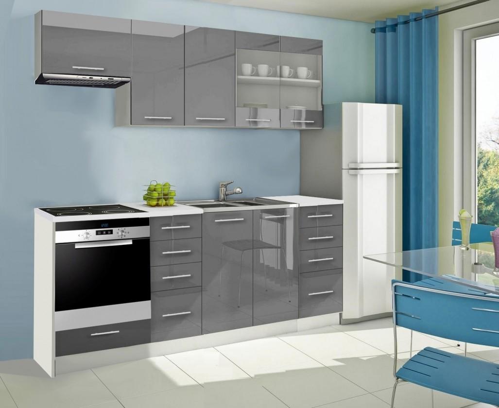Rovná Mondeo - Kuchynský blok D 220 cm, sivá, lesk