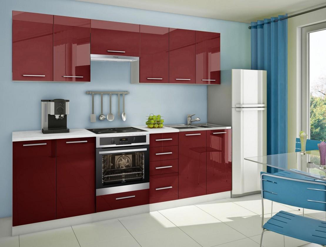 Rovná Mondeo - Kuchynský blok D 260 cm, červená, lesk