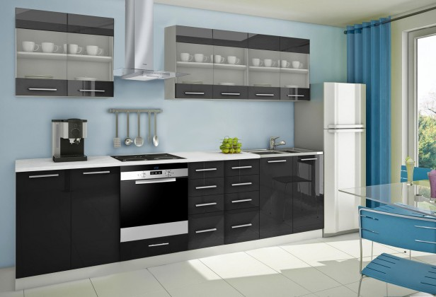 Rovná Mondeo - Kuchynský blok D 300 cm, čierna, lesk