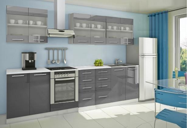 Rovná Mondeo - Kuchynský blok D 300 cm, sivá, lesk