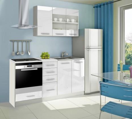Rovná Mondeo - Kuchynský blok E 180 cm, biela, lesk