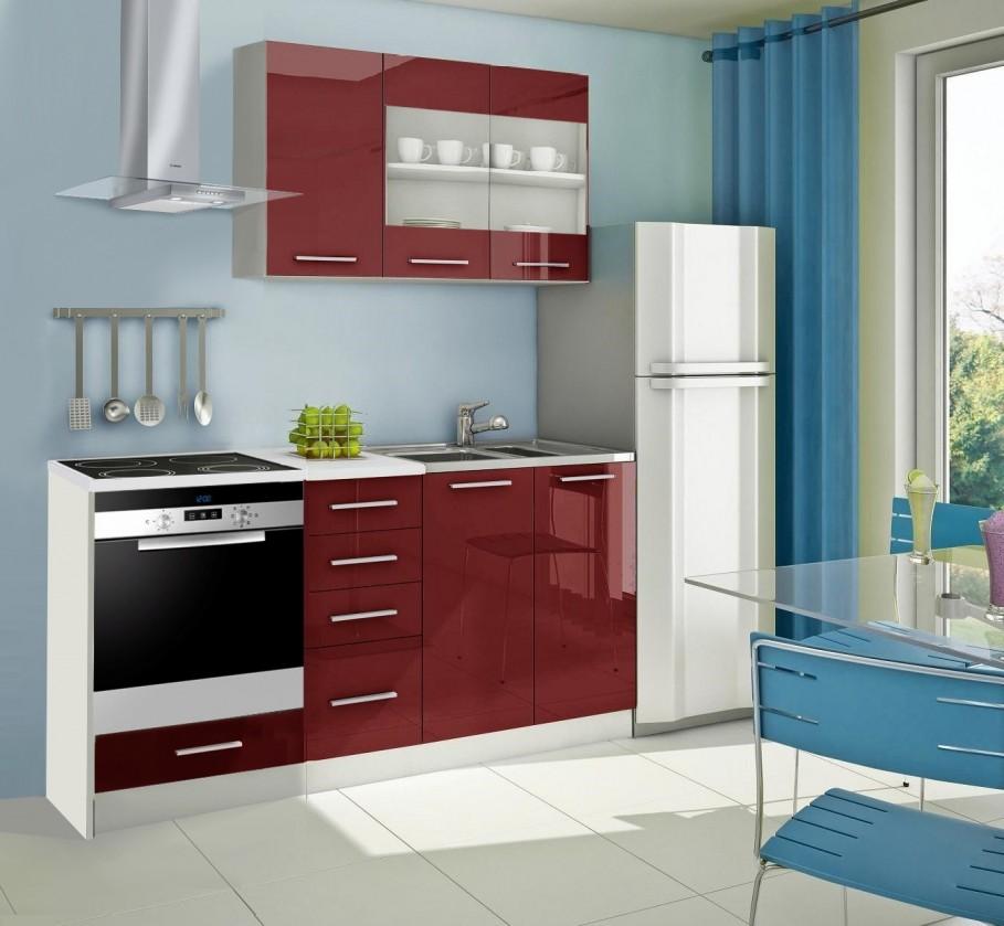 Rovná Mondeo - Kuchynský blok E 180 cm, červená, lesk