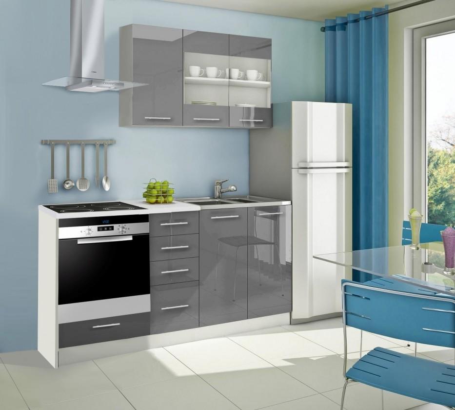 Rovná Mondeo - Kuchynský blok E 180 cm, sivá, lesk