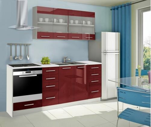 Rovná Mondeo - Kuchynský blok E 220 cm, červená, lesk